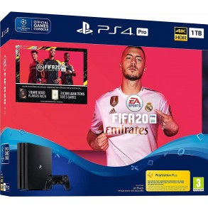Sony Playstation 4 Pro Console PS4 Pro 1TB Black + Fifa 20 + 14 Tage PS Plus