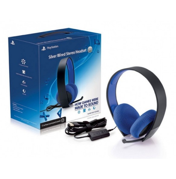 PS4 PLAYSTATION SILVER WIRED STEREO HEADSET PS4 Slušalke