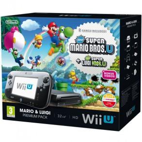 Nintendo Wii U Premium 32GB črn + Mario Kart 8 + New Super Mario + Luigi Bros U